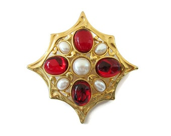 Red scarf clip Vintage gold scarf brooch Gold star scarf clip Large clip for scarf Faux pear Red glass beads Scarf lover gift Pearl cross