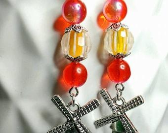 Orange Windmill Earrings