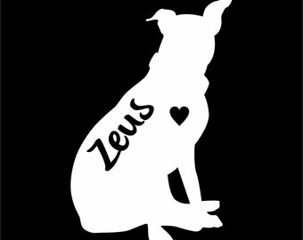 American Stafford Terrier Dog Vinyl Sticker Decal Car Personalized With Name