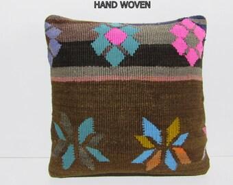 bohemian pillow cover 20x20 stripe throw pillow ethnic pillow tribal cushion cover decorative boho cushion cover kilim rug pillow sham B1294