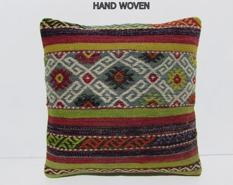 couch pillow cover 16x16 DECOLIC aubusson pillow throw pillow large decorative pillow turkish pillow patchwork sham 31265 kilim pillow 40x40