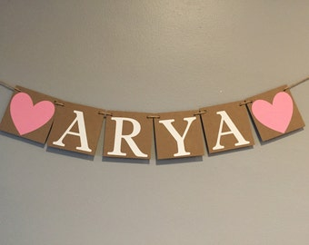 Name Banner, Baby shower, square banner, baby name banner, chipboard banner, chipboard