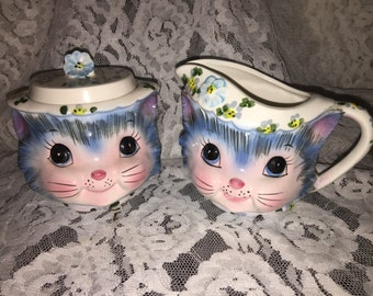 Lefton Miss Priss creamer and lidded suger dish Pristine Condition 1950's Japan