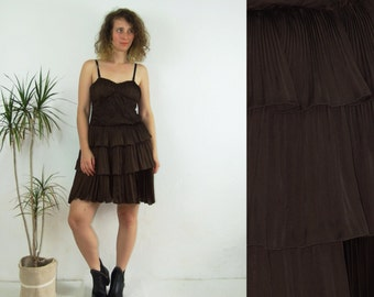 80's vintage women's mini pleated brown dress