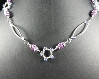 Purple and Silver Tube Necklace