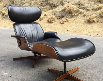 Mulhauser Mr. Chair Plycraft Lounge and Ottoman in Leather