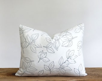 Floral hand printed and hand dyed linen pillow in black