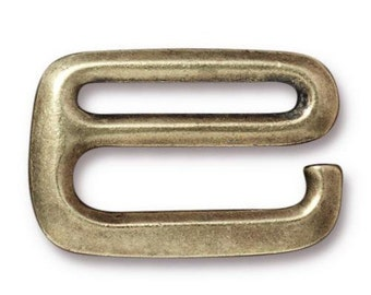 "3/4"" Brass TierraCast E Hook Clasp Finding Bracelet Necklace Jewelry Supplies, 20mm flat"