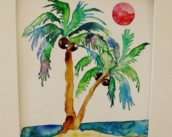 Palm tree watercolor painting, original watercolor painting, beach watercolor, tropical painting