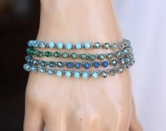 Beachy Crochet 4xWrap Bracelet/ Necklace , Boho Chic Jewelry