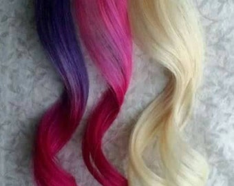 Blonde Hair Purple Pink Human Hair -Valentines Day Themed Set - BE MINE - Set of 4 clip in 100% Human Hair Extensions