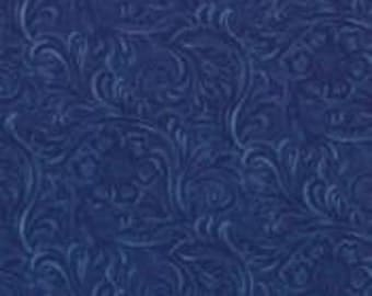 """Beautiful navy """"Tooled Leather"""" look quilting fabric."""