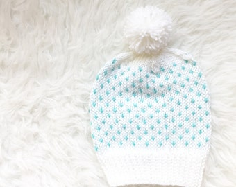 Onana Mint Pom Pom Hat, Mint Slouch Hat, White Knitted Beanie, Knit Mint Pom Pom Hat, Knit Toque, Slouchy Hat, Womens Hat, Gift for Her