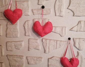 Hanging heart pillows