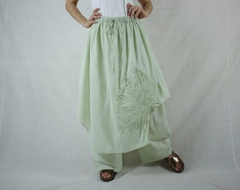 Pants With Skirt - Azo Free Color Light Green Light Cotton Pants With Skirt And Floral Applique & Handed Embroidery - P023