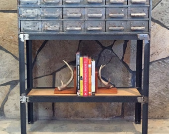 Vintage Metal Card/Hardware Drawer Console/Entry Table