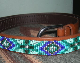 Vintage Native American Hand Crafted Turquoise Blue Glass Seed Beads and Leather Belt M-L