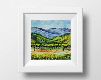 Vineyard Art, California Vineyard, Napa Valley, Wine Country, Wine Art, Vines, Grapes, Kitchen Decor, Vineyard Print, Palette Knife, Vines