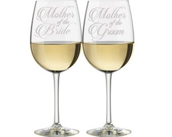 Mother of the Bride Glasses, Mother of the Groom Glasses, (set of 2 glasses), Maid of Honor Glasses, Etched Wine Glasses