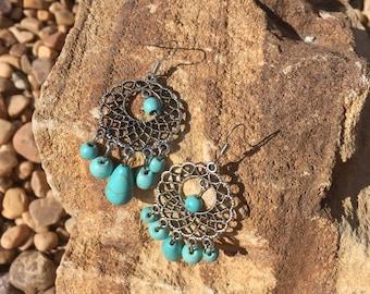 Boho Turquoise bead Dangle Earrings
