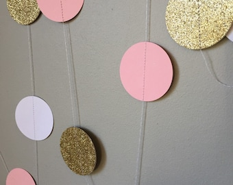 Pink, gold and white garland