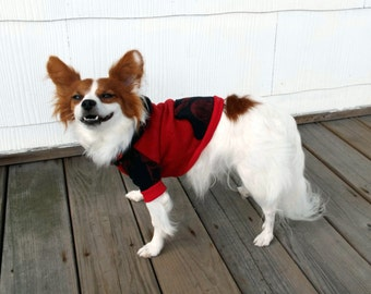 Red and Black Walking Dead Pet Hoodie / Zombie Dog Hoodie / Red Pet Clothes / Zombie Dog Clothes