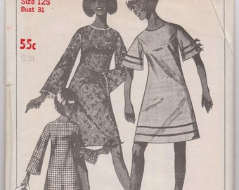 """1960's A-Line dress   Vintage sewing pattern. Size 12S   Bust  31"""""""