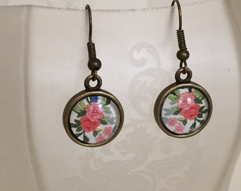 Earrings with Vintage Laura Ashley Pattern