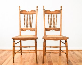 Charming Antique Wood Chairs, Antique Dining Chairs, Cane Chairs, Beautiful Pair Of  Antique Victorian Chairs W/ Cane Seats U0026 Barley Twist Spindles