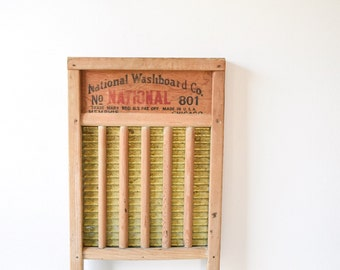 washboard, antique washboard, wooden washboard, wood and brass National Washboard Co. No. 801 washboard, vintage laundry washboard decor