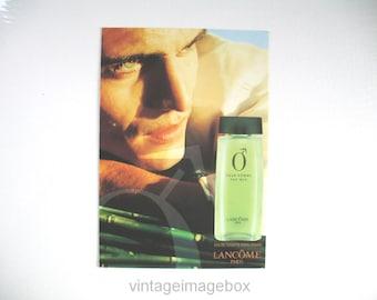 Lancome O Pour Homme vintage perfume card / postcard 1990s