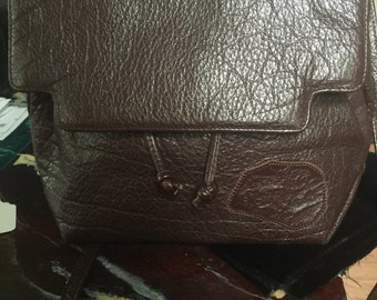 1980s Carlos Falchi leather bag in brown leather mock faux turtle stamping.