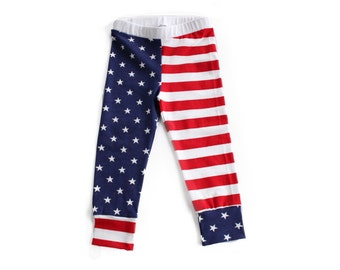 Patriotic leggings-baby leggings, toddler leggings, stars and stripes, red white and blue