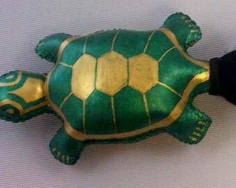 Rawhide Rattle - Hand-crafted and Painted Turtle Totem. FREE SHIPPING till 1-1-17!