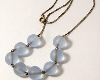 Vintage Art Deco WMF Myra Pastel Blue Glass Bead Necklace
