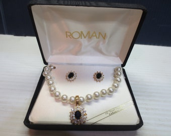 Roman 18 Inch Pearl Necklace Enhancer Set Rhinestone And Black Glass Stone And Matching Pierced Earrings