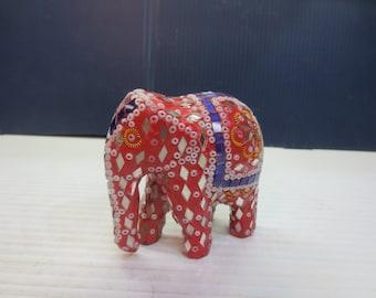 Decorative Mirrored Elephant, Knick Knack Figurine, Seed Beaded, Paperweight
