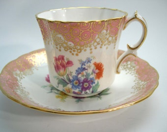 Antique Hammersley Tea Cup And Saucer,  Pink and Gold Hammersley tea cup and saucer, Floral tea cup set.