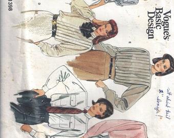 1980s Misses Shirt Pattern, Basic Design, Vogue 1398, Size 10