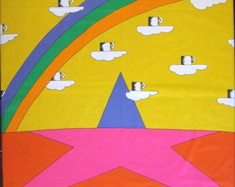 Fujie Textile - Coffee, Rainbows, Stars and Clouds - Original Vintage 1979
