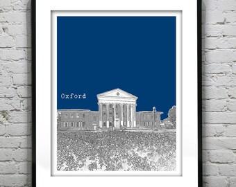 Oxford Mississippi Poster Art Print Skyline Ole Miss Version 2