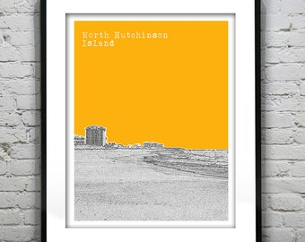 North Hutchinson Island Skyline Poster Art Print Florida FL
