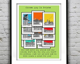 14 Pack Bundle Art Print Posters Mix and Match Your Choice any Cities, Colors, Size
