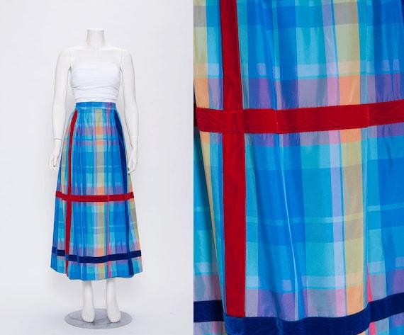 vintage 1970s colorful plaid maxi skirt revival vintage