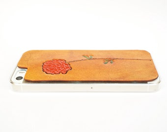 Leather iPhone 5s Case / Leather iPhone 5 Case - Red Rose