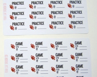 Football Practice or Game Planner Stickers, Sports, Matte Removable