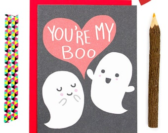 Funny I Love You Card, Anniversary Card, Your My Boo, Ghost Love Card, Funny Card, Punny Love Card, Card for Partner, Pun Card, Cute Pun