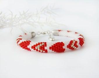Valentines bracelet Be my valentine Day women gift Two hearts Red white beaded rope bracelet  Romantic crochet bracelet Love bracelet
