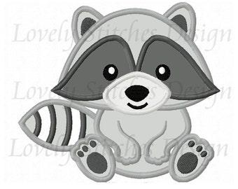 Baby Raccon Applique Machine Embroidery Design NO:0511