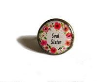 Soul Sisters/ besties ring/ BFF ring/Best Friend Gift/ Sister Gift/ Birthday Gift/ Adjustable Ring Set, adjustable ring,